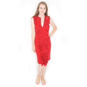 FENDI Red Wool Ruffle Authentic Sheath Dress
